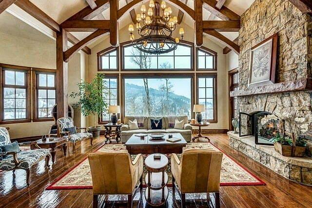 Sala de estar, decoração alpina